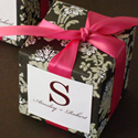 Pretty Damask Cube Favor Box