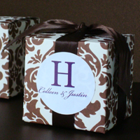 Pretty Brown and White Damask Cube Favor Box