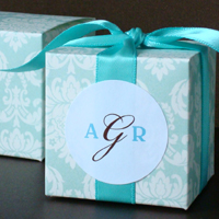 Pretty Turquoise Damask Cube Favor Box