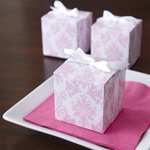 Pretty Pink Damask Cube Favor Box