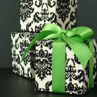 Pretty Black & White Damask Cube Favor Box