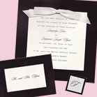 Glossy Black and White Square with Ribbon-Wedding Invitation Set
