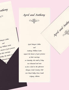 Heavy Ecru in Black Sleeve Wedding Invitation Set