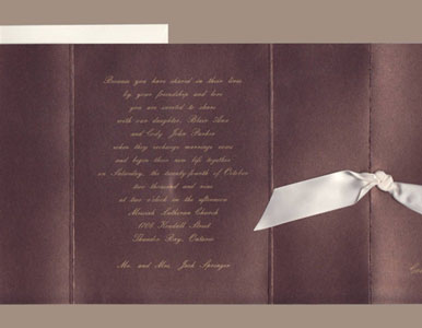 Metallic Copper Brown Gate Fold with Ribbon Wedding Invitations