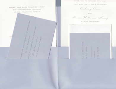 Metallic Periwinkle Folder with Ribbon Tie Wedding Invitations