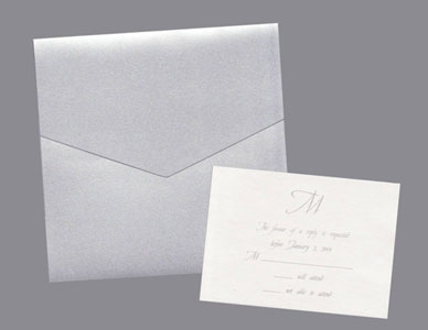 Silver Pocket Wedding Invitation Set