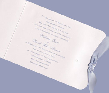 Soft Pink Metallic with Periwinkle Ribbon Wedding Invitation Set