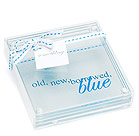 """Something Blue"" Glass Coasters"