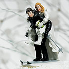 Winter Skiing Wedding Couple Figurine