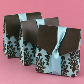 Turquoise and Brown Damask Favor Boxes