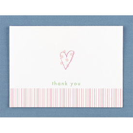 Pink Heart Thank You Cards