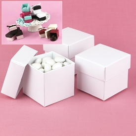 Mix-and-Match White Shimmer Favor Boxes