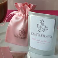 """Love is Brewing"" Satin Bag Wedding Favor"