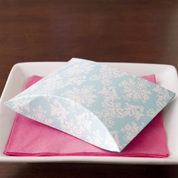 Pretty Turquoise Damask Pillow Favor Box