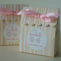 Pink + Peach Striped Scalloped Favor Bag