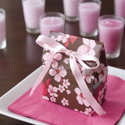 Brown and Pink Cherry Blossom Scallop Favor Bag