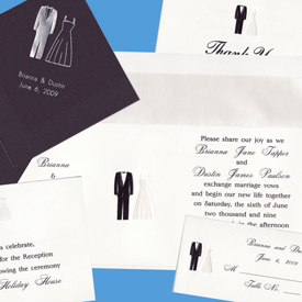 Black and White Bride Groom Horizontal - Wedding Invitation Set