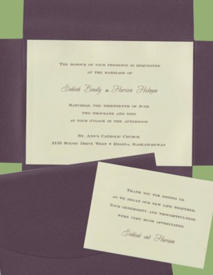 Celery with Chocolate Brown Wrapper - Wedding Invitation Set