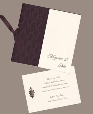 Chocolate Brown Embossed Brocade Square - Wedding Invitation Set
