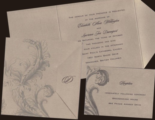 Golden Filigree Wedding Invitation Set
