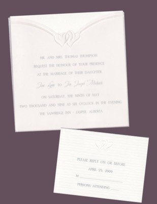 Textured White Square in Heart Vellum Wedding Invitation Set