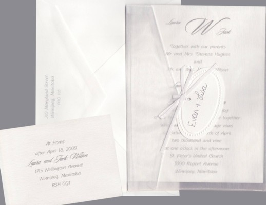 White Metallic in Organza Envelope Wedding Invitation Set