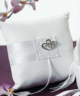 Classic Double Heart Square Ring Pillow