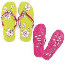 "Tropical Orchid ""Just Married"" Flip Flop Sandals"