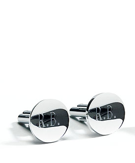 Classic Round Cufflinks in Shiny Silver Plating